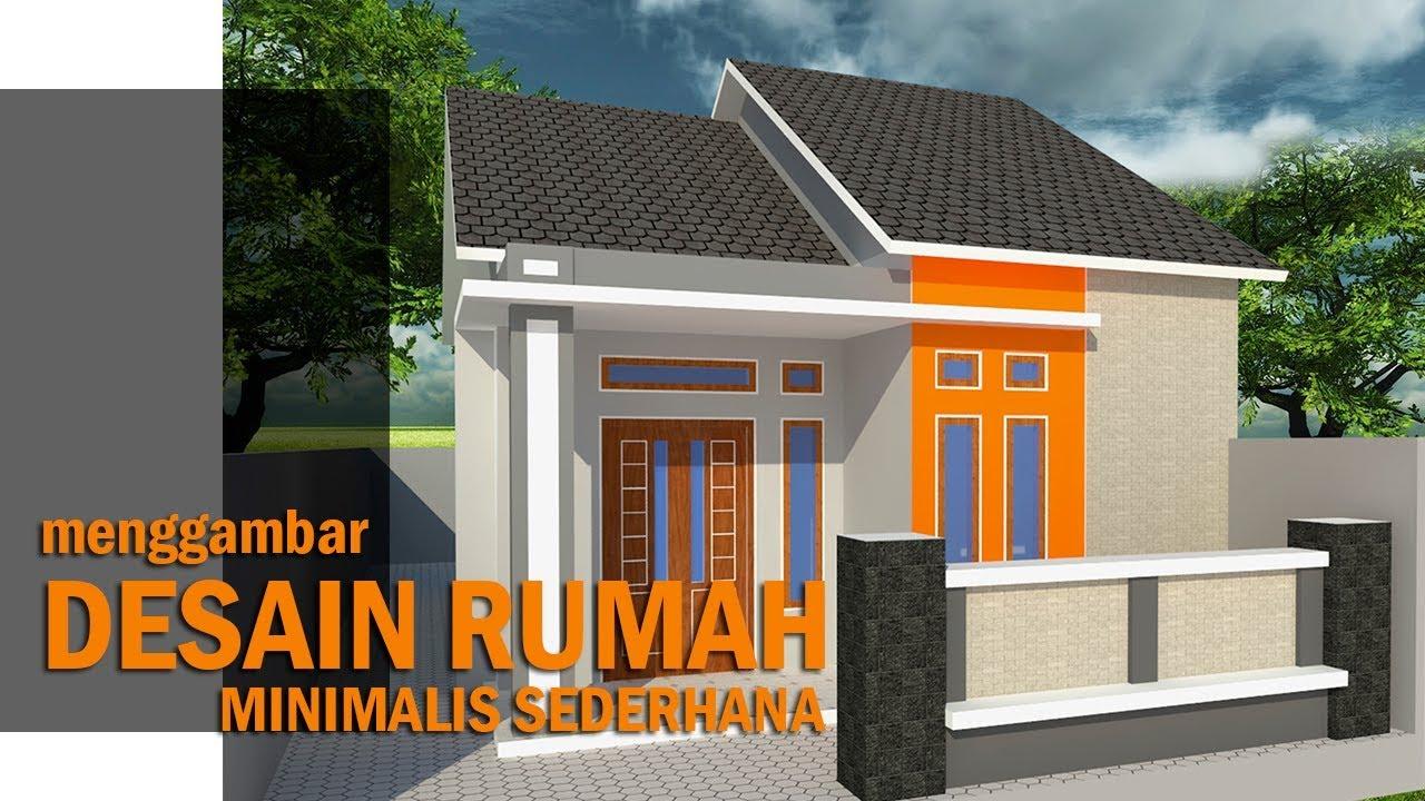 Menggambar Desain Rumah Sederhana Khas Rumah Di Kampung Ukuran 6 X 9 Youtube