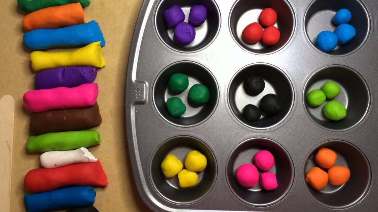 Playdough color sorting fine motor skills for preschool for Fine motor skills activities for infants