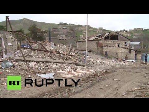 Разрушенные в ходе обострения Нагорно-Карабахского конфликта дома в селе Талиш