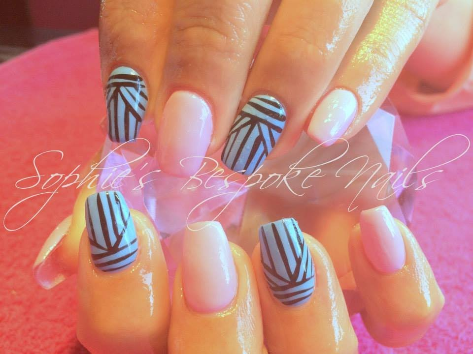 Acrylic Nails l Baby Blue & Pink l Nail Design - YouTube