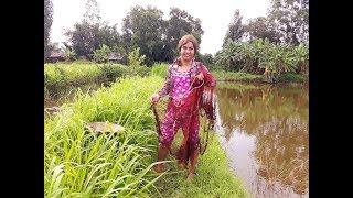 Làm dâu miền tây | Vợ thằng Sang đi chài cá & chặt dừa nước