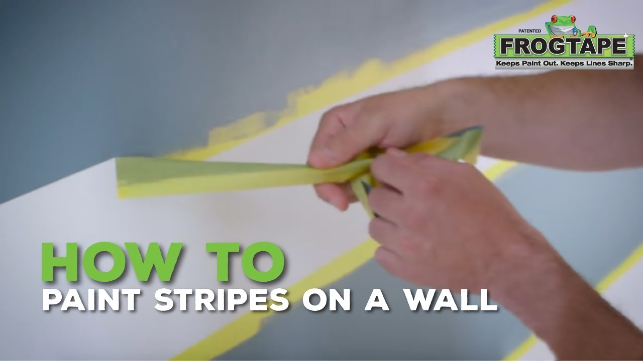 How to paint stripes on a wall youtube for Bedroom stripe paint ideas