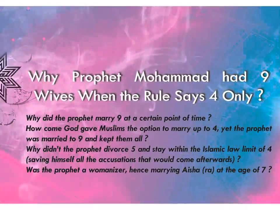 wives of the holy prophet muhammad The bible on marriage of young girls with much older men as it is christian evangelists and other believers in the bible who have been bitterly reviling the holy prophet muhammad on account of his marriage with aisha, we put to them the practices of the great patriarchs and prophets that are recorded in the bible itself in this connection.