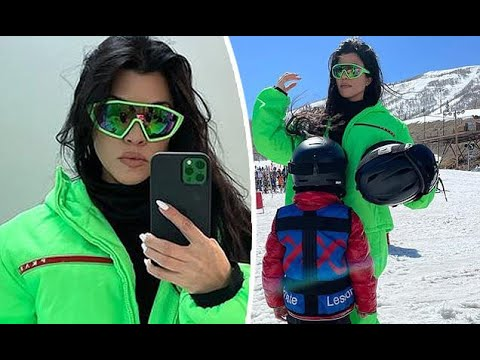 ✅  Kourtney Kardashian rocks an electric green suitto hit the slopes on a family getaway in Park Ci