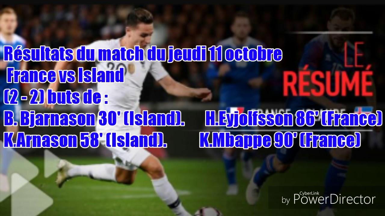 r u00e9sultats du match france island  2-2  r u00e9sum u00e9 tf1