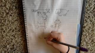 Drawing Simple Animals - Part 2 (Fox, Pig, Deer, Monkey, Elephant, Alligator)