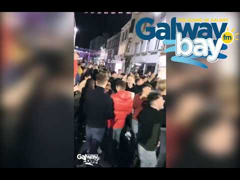 Shocking footage of crowds of students on Shop Street