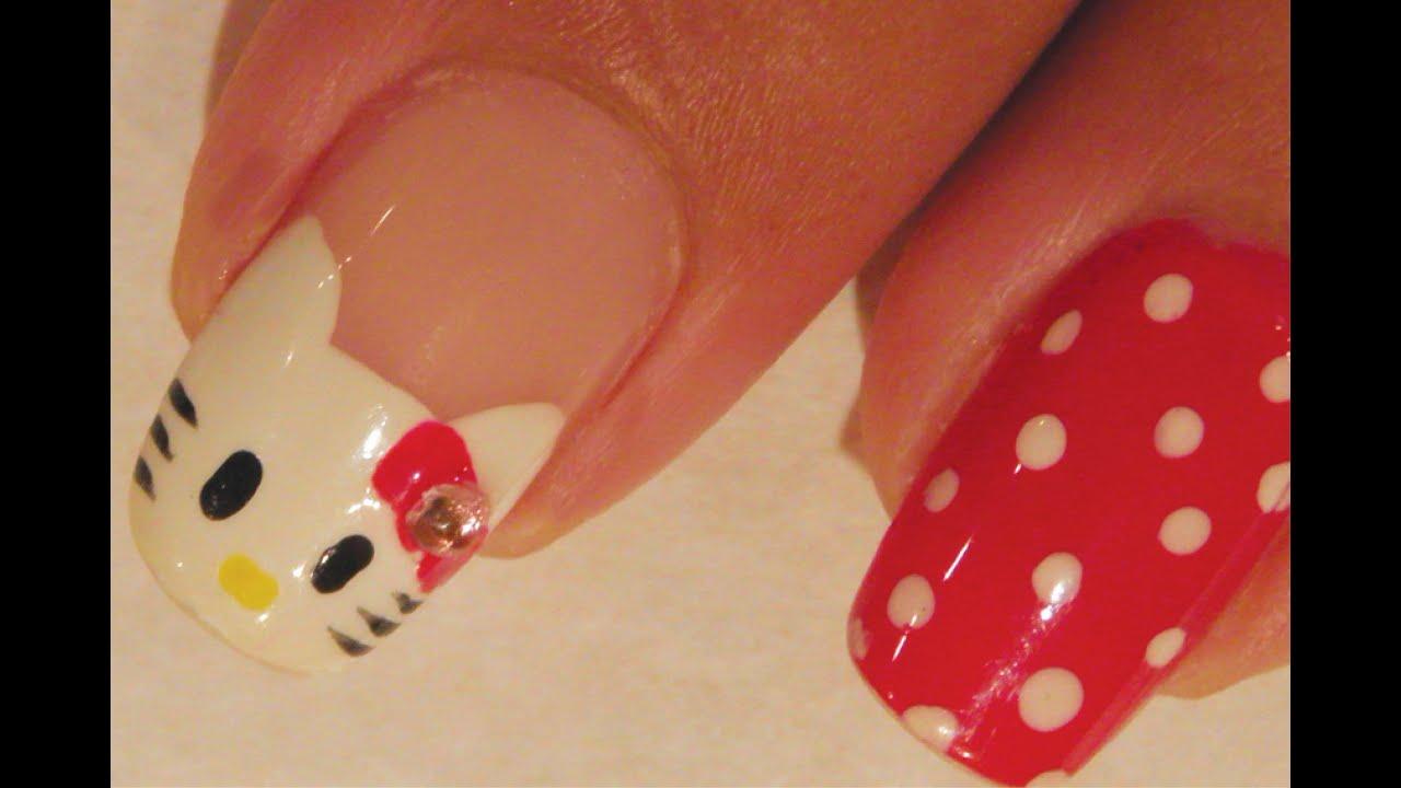 Hello Kitty Nail Art Tutorial Youtube
