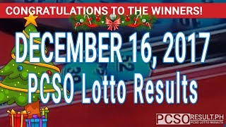 PCSO Lotto Results Today December 16, 2017 (6/55, 6/42, 6D, Swertres, STL & EZ2)
