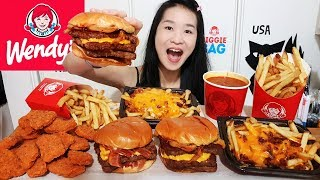 MASSIVE WENDY'S FEAST!! Spicy Chicken Nuggets, Baconator Cheeseburger, Chili Cheese Fries - Mukbang
