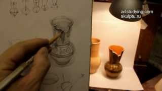Обучение рисунку. Введение. 8 серия: рисунок вазы и светотень