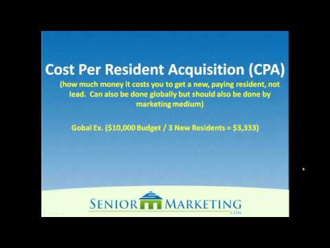 Senior Living Marketing - The Cost To Acquire a Resident