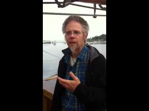 Gordon Simms (aka Bucko Billy) visits Adventuress in Eagle Harbor