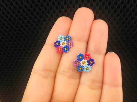 Cluster Flower Post or Stud Earrings || Brick Stitch Beaded Earrings