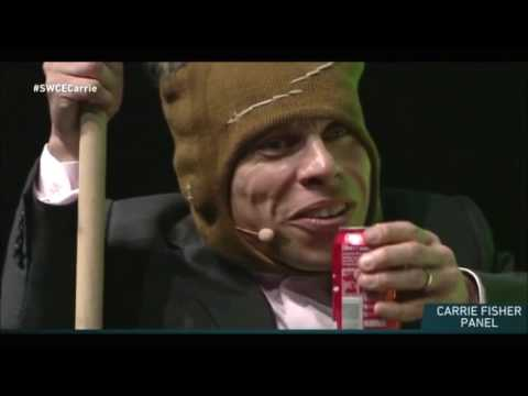 Gary Fisher (Carrie Fisher Dog ) Barks And Chases Warwick Davis FUNNY ! Star Wolrd Celebration !