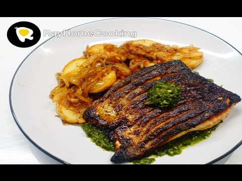 Pan-fried Salmon with Lyonnaise Potatoes and Chimichurri Sauce