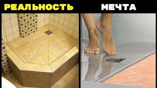 Душова з плитки ЯКІ ВАРІАНТИ ? | Душовий піддон або врівень? | Сталінський будинок і каналізація