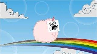 Pink Fluffy Unicorn Dancing On Rainbows (EARRAPE)