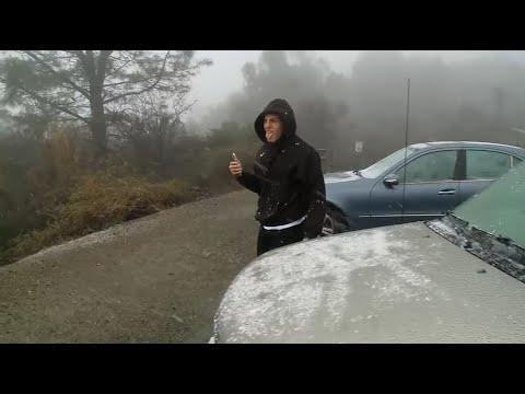 Snow-Seekers Trek To Mount Diablo As Winter Weather Dusts Bay Area