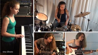 Van Halen - Right Now; piano, drum, guitar, bass cover by 15 y.o. girl