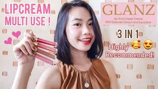 Review Glanz Lip & Cheek Cream Lipcream Multifungsi 3in1   Valda Milenia