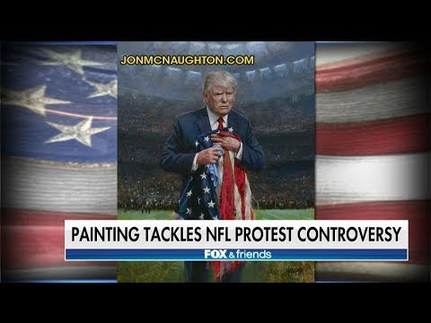 Artist Tackles National Anthem Controversy With Painting of Trump Holding Trampled American Flag