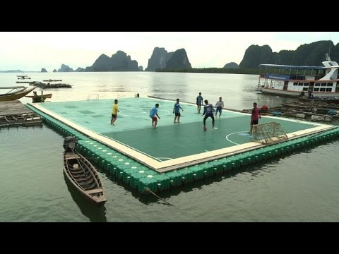 Floating football pitch keeps Thai tourist blues at bay