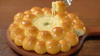 갈릭치즈에 퐁듀처럼 찍어 먹는 폭신한 우유빵 만들기 :…