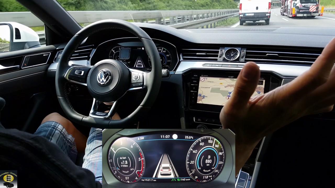 vw arteon 2 0l tdi assistenzsysteme teilautonomes fahren autobahn test drive systemtest