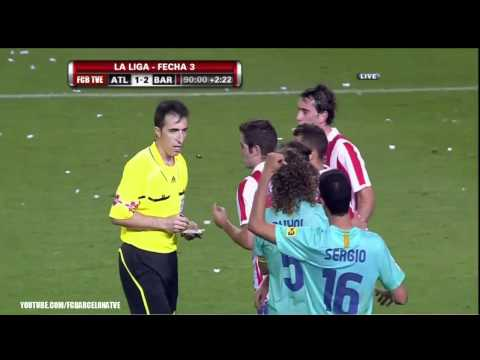 Atletico Madrid Vs FC Barcelona 1-2  Lionel Messi Injury Tomas Ujfalusi Red Card September 19 2010