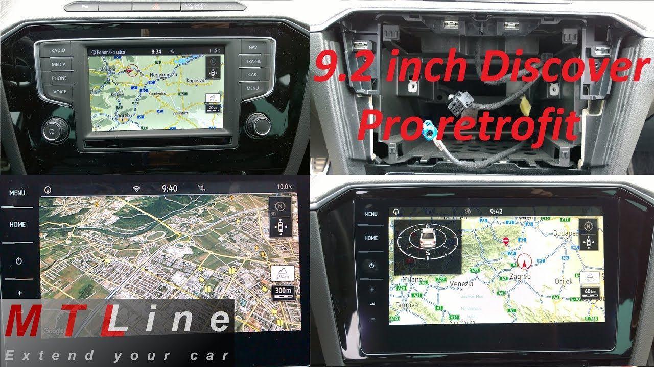 Retrofit of 9 2 inch Discover Pro with Google Earth, App-Connect and  Perform  Monitor - VW Passat B8