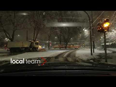 Nevicata notturna su Milano: il camera car