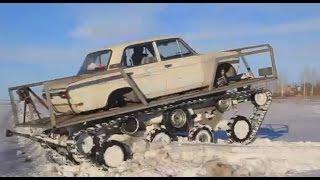 بالفيديو.. 'الشره'.. هيكل سيارة 'لادا' على جنازير دبابة