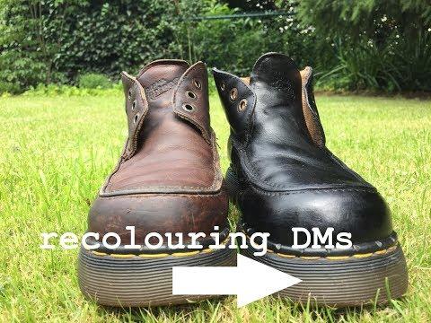 DIY: Dyeing Vintage Leather DMs Black