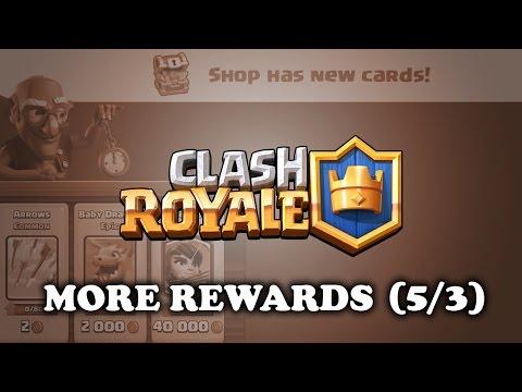 Clash Royale   More Rewards! (5/3)   Gold   Donations   Chest Drops   Shop   Legendaries