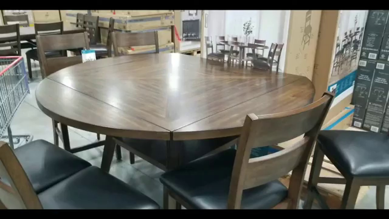 Costco 7 Piece Square To Round Counter Height Dining Set 799 Youtube