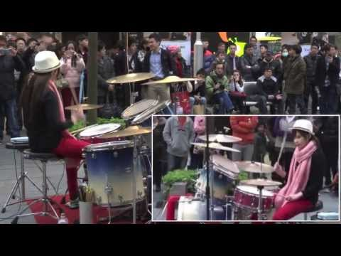 Awesome Taiwanese girl drummer cover Oppa Gangnam Style