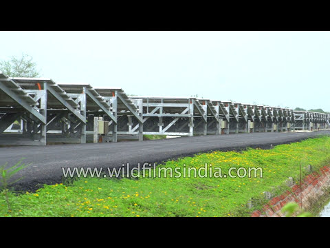 India goes solar: Solar Power Plant atop a canal in Gujarat