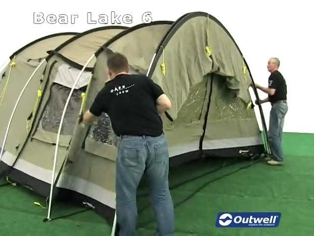 How to pitch the Outwell Bear Lake 6 tent & Outwell Bear Lake 6 Tent in strong winds - north Wales ...