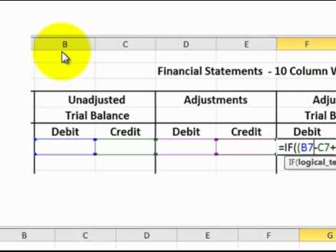 Excel 10 Column Worksheet For Accounting Excel Formulas