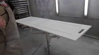 WOODMAN: Как красить краскопультом мебельную деталь.