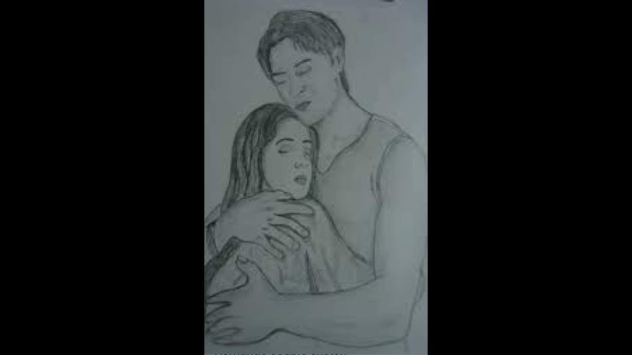 Romantic love couple hug pencil sketch animated drawing