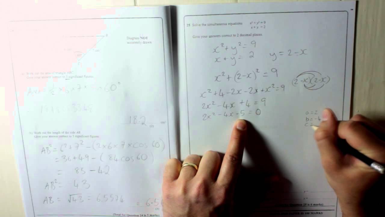 Edexcel GCSE Paper 2 June 2013 Question 25 - Simultaneous equations ...