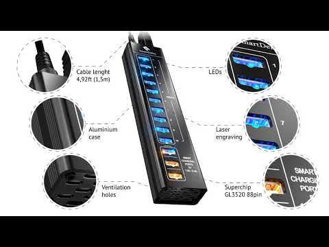 SmartDelux 13-Port Powered USB Hub