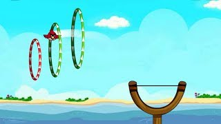 Angry Birds SlingShot Fun 2 - ANGRY BIRDS ACCEPT THE CHALLENGE OF FLYING THROUGH THE RINGS !