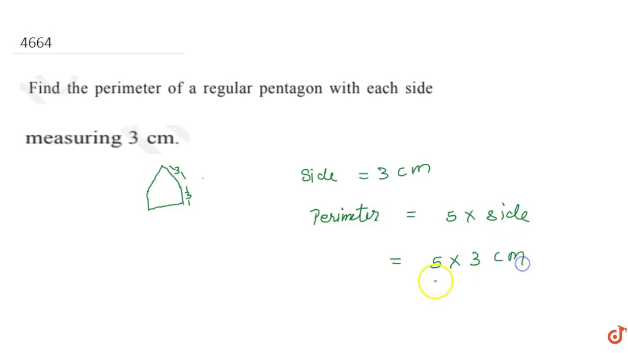 Find the perimeter of a regular pentagon with each side measuring 3 cm.... - YouTube