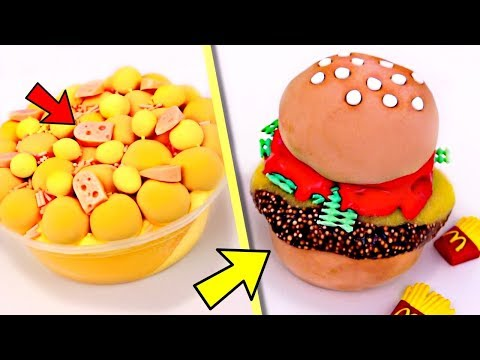 SATISFYING Slime Food CREATIONS! Difficult Food Slime CHALLENGE!