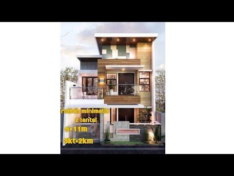 desain rumah minimalis 2 lantai luas tanah 66m2 - youtube