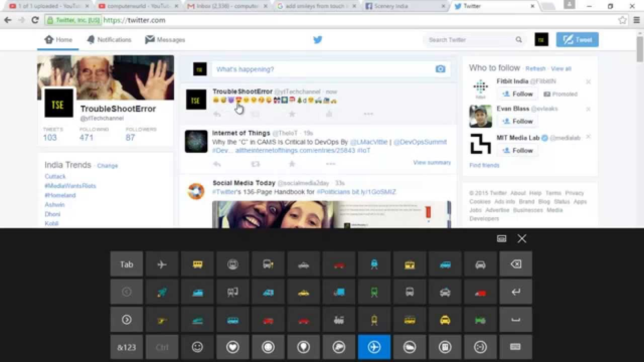 How To Add Smileys Emoticons Symbols In Twitter Tweets Youtube