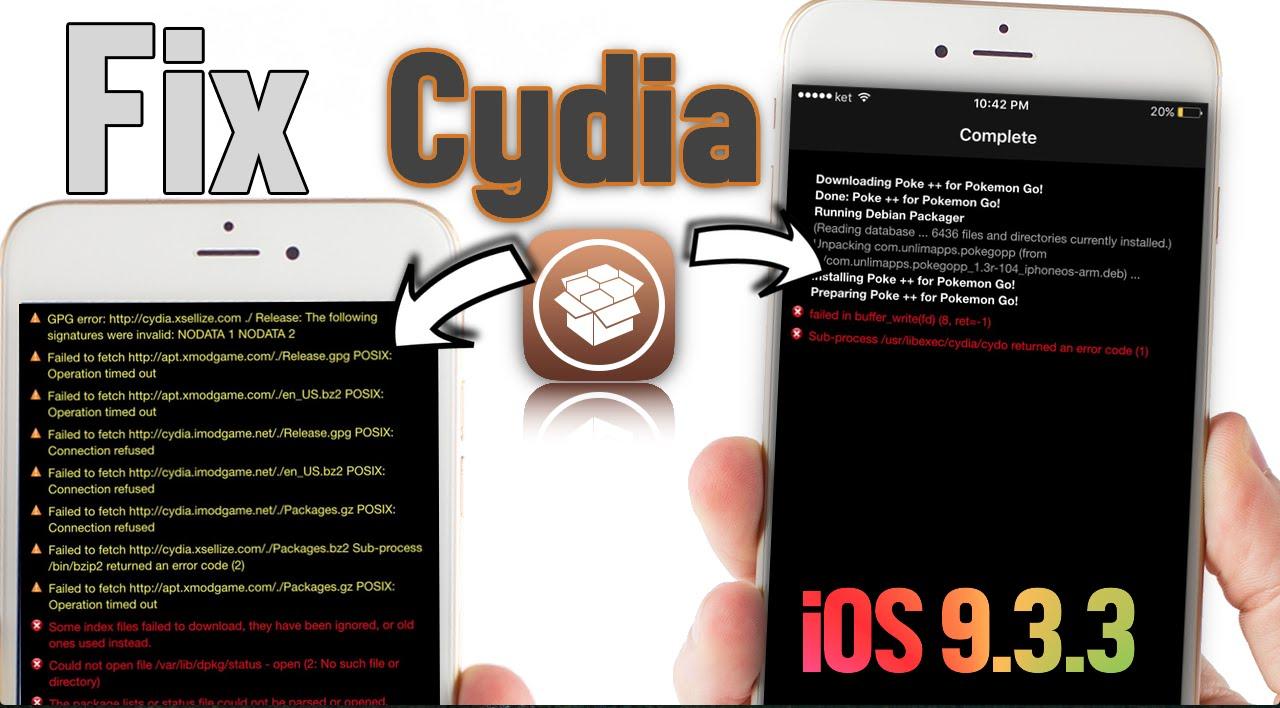 Fix Cydia Error Messages iOS 9 3 3 - 10 2 Jailbreak